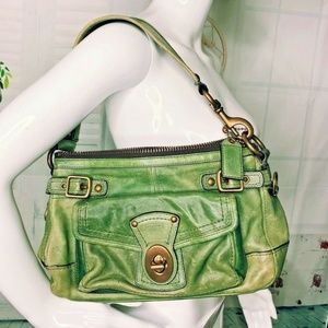 Coach Soho Green Distressed Leather Shoulder Bag